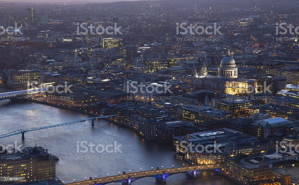 London cityscape view of St Paul's Cathedral and River Thames royalty-free stock photo