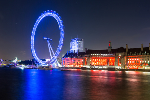 London Cityscape with Millennium Wheel at Night