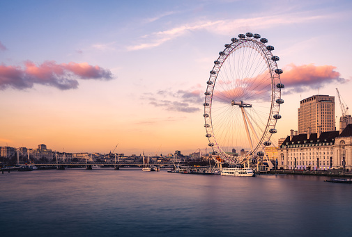 London Cityscape with Millennium Wheel (London eye) at sunset