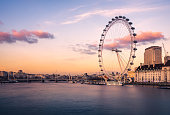 London Cityscape with Millennium Wheel (London eye) at sunset