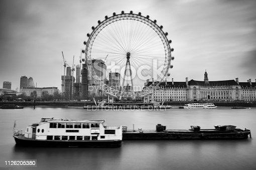 London, England - February 21, 2018: Morning image of London.. The Thames embankment and the London Eye ferris wheel