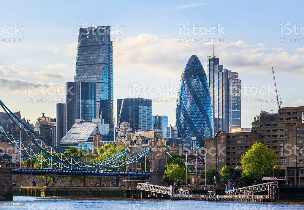 London Cityscape with Tower Bridge stock photo