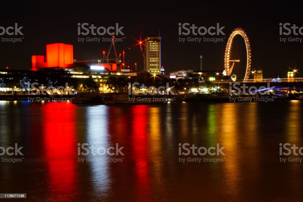 London cityscapes at night on river Thames stock photo