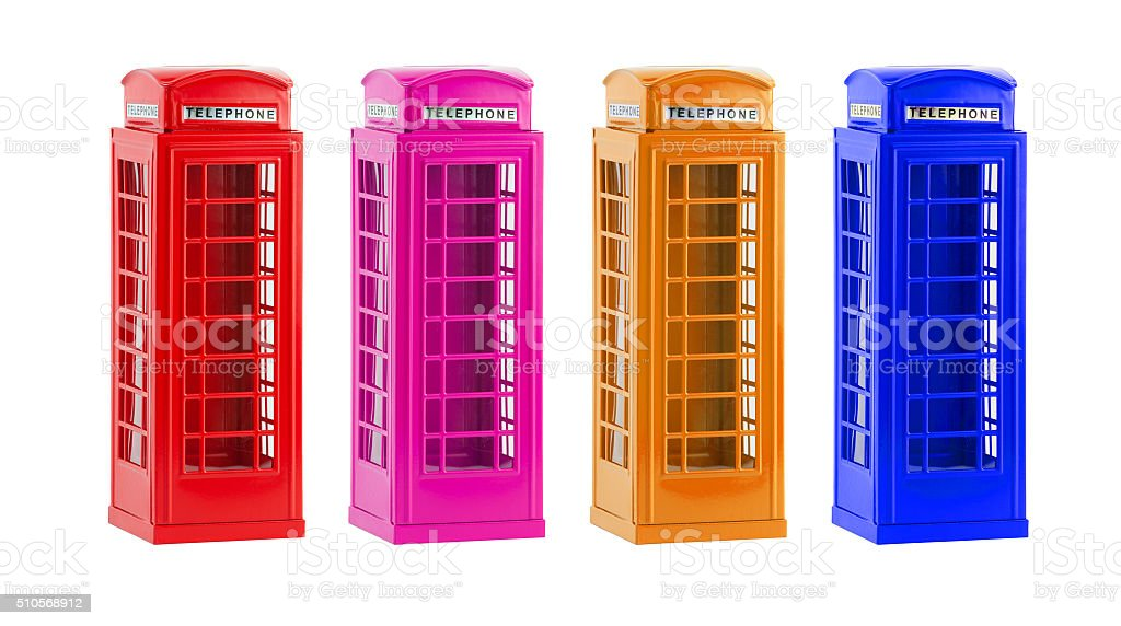 London colorful telephone boxes(souvenir) on white background stock photo