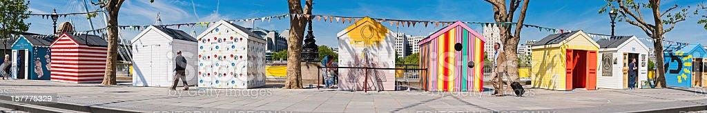 London colourful beach huts Southbank panorama royalty-free stock photo
