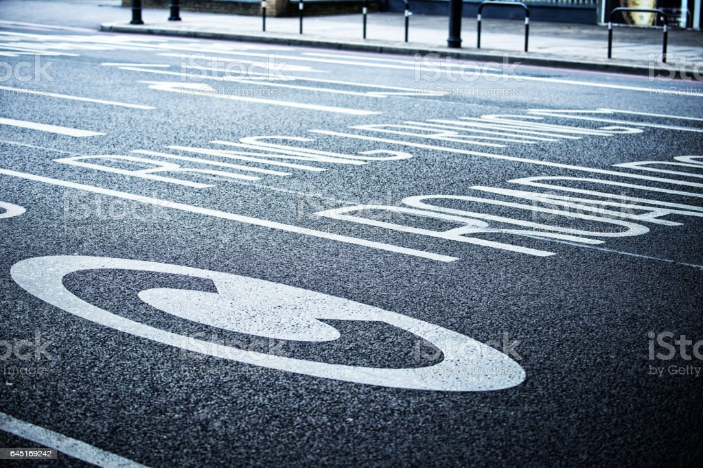 London congestion zone road marking stock photo