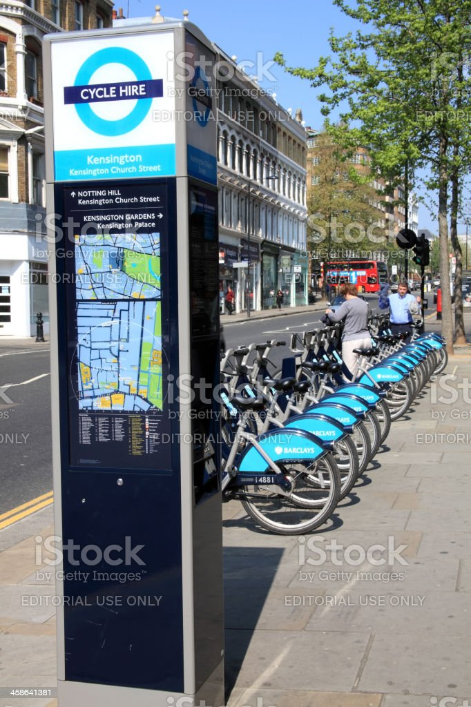 London Cycle Hire Docking Station stock photo