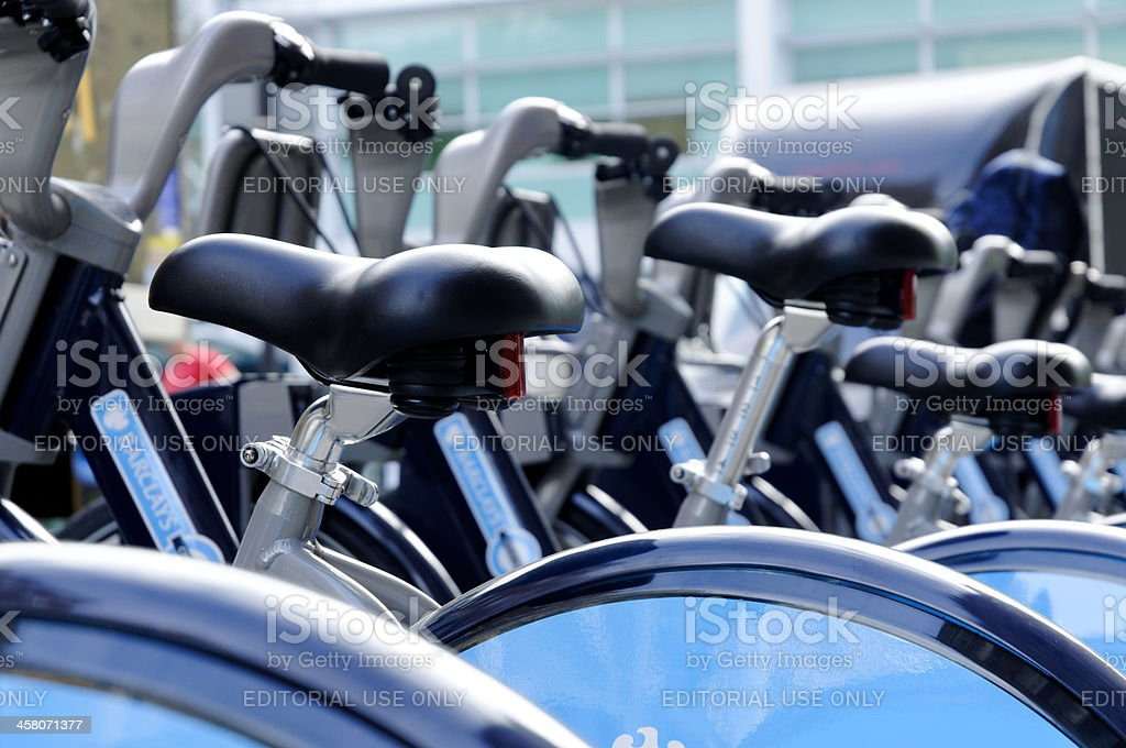 London cycle hire saddles stock photo