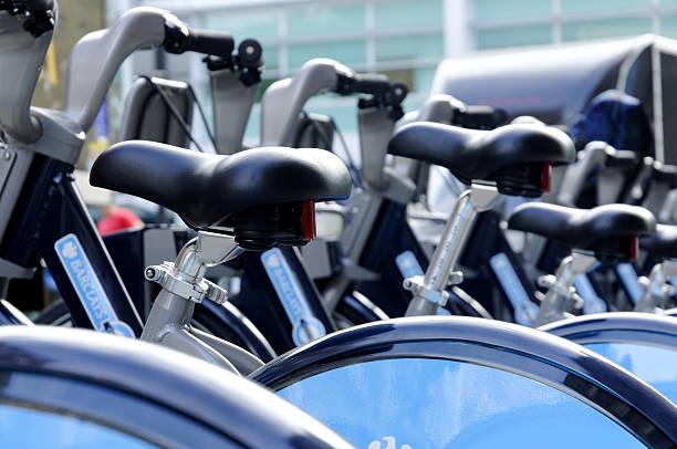London cycle hire saddles stock photo