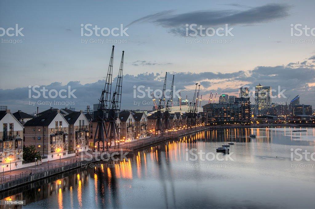 London Dockland scene at sunset stock photo