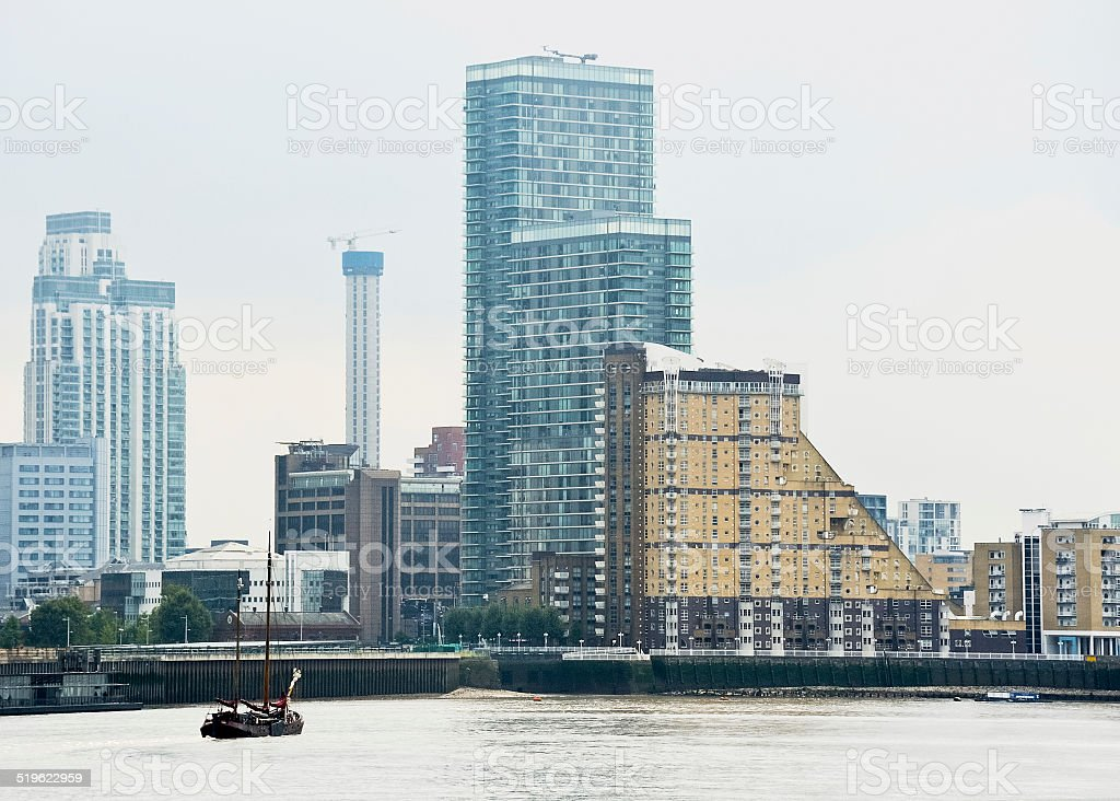London Docklands on the Thames stock photo