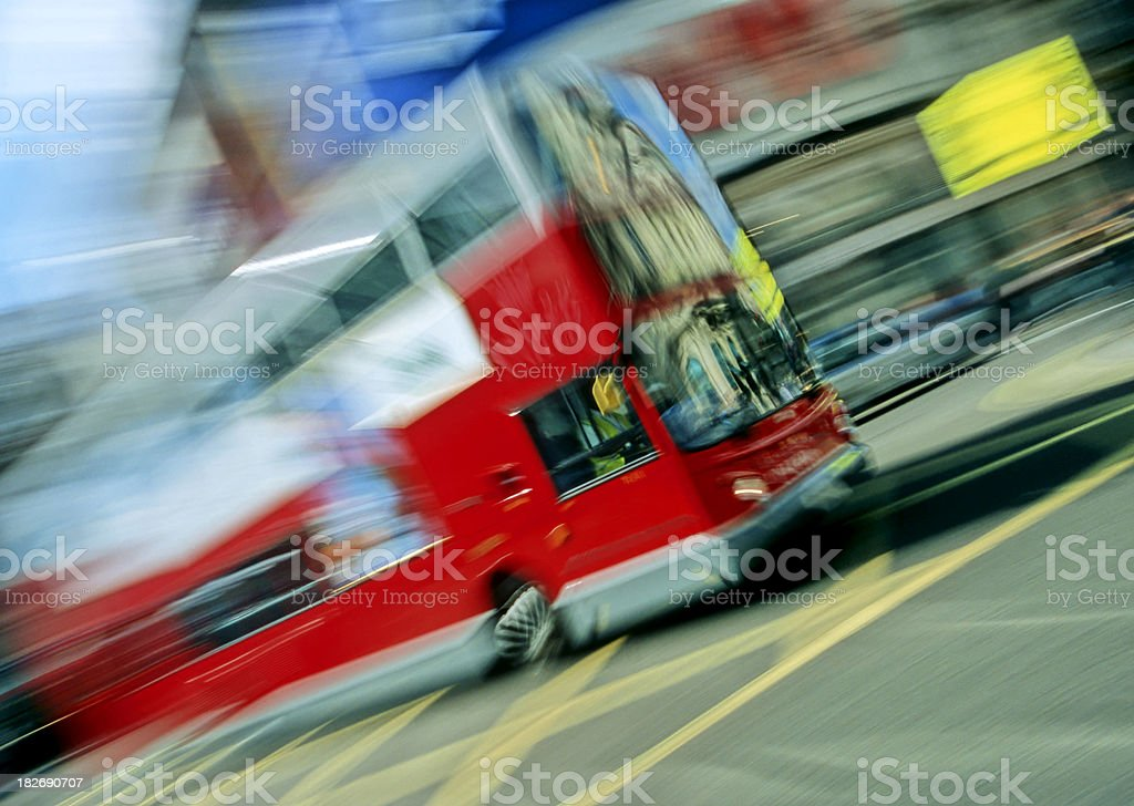 London Double Decker Bus in Motion royalty-free stock photo