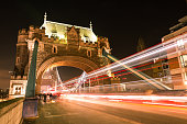 London Double Decker Bus Light Trails on Tower Bridge Road at Night