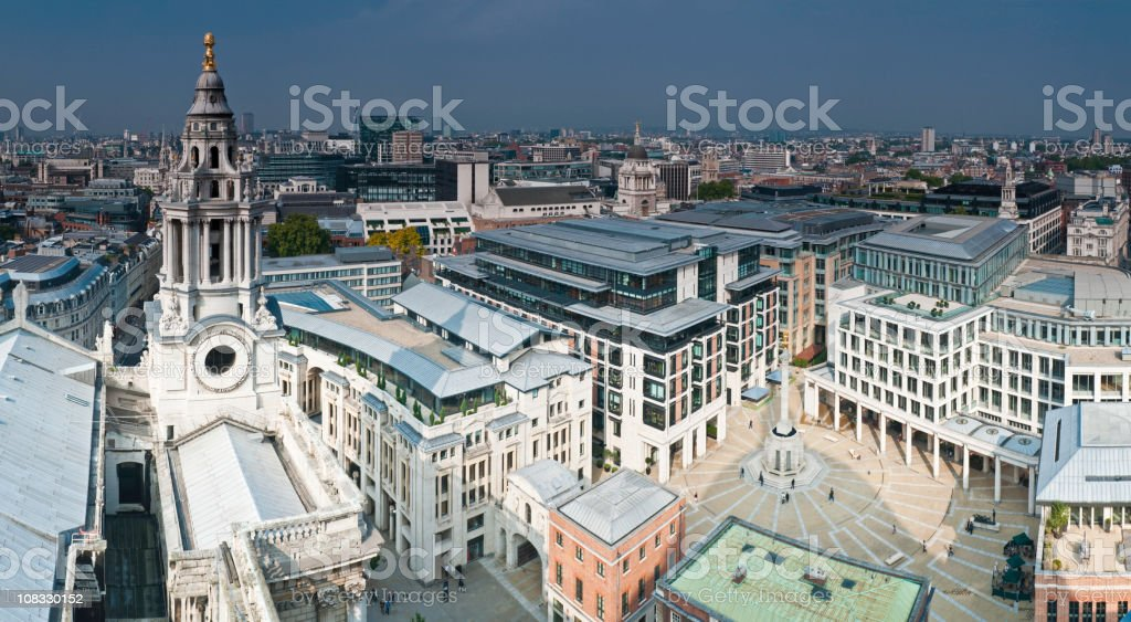 London dramatic stormclouds over City Stock Exchange Paternoster Square UK stock photo