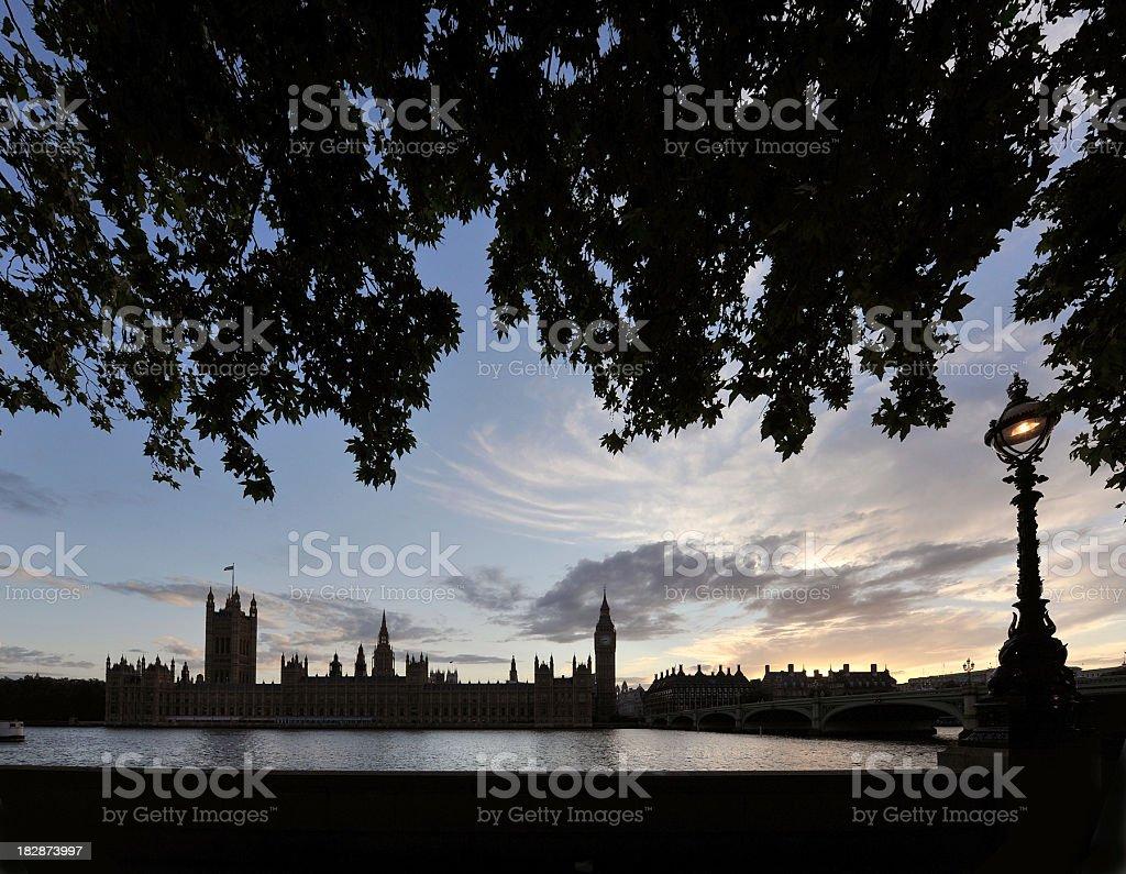 London dusk silhouettes stock photo