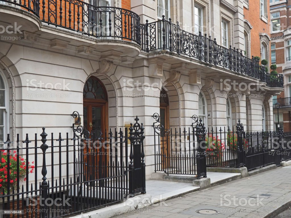London, elegant apartment building stock photo