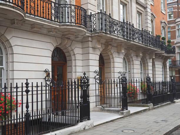 London, elegant apartment building London, elegant apartment building near Mayfair mayfair stock pictures, royalty-free photos & images