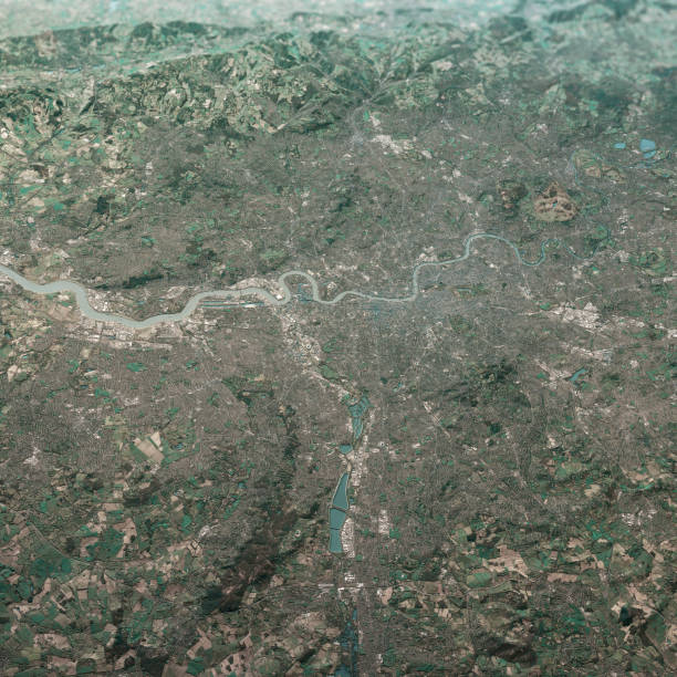 London England 3D Render Luftlandschaft Ansicht aus Dem Norden Feb 2019 – Foto