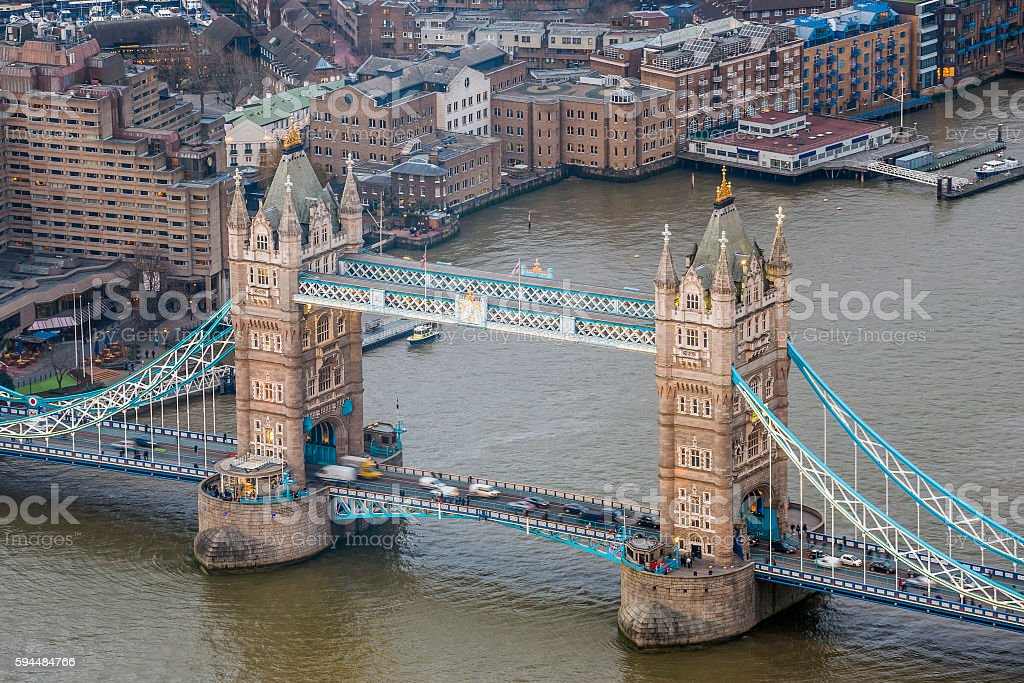 London England Aerial View Of The Famous Tower Bridge Stock Photo
