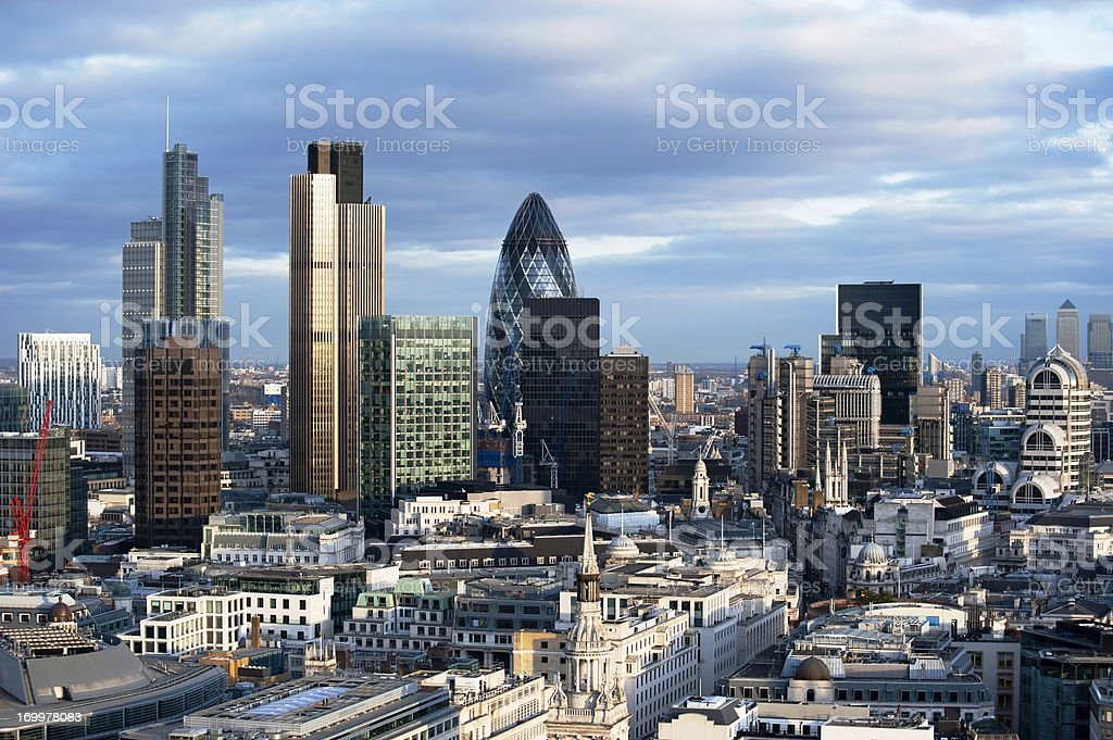 London, England financial district landscape during the day stock photo