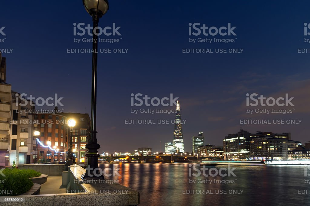 London, England, June 17 2016: Southwark Bridge, The Shard  skyscraper stock photo