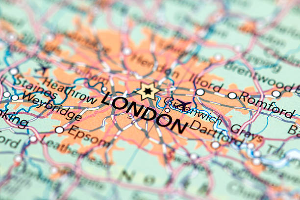 London, England Map of London.  southeast england stock pictures, royalty-free photos & images