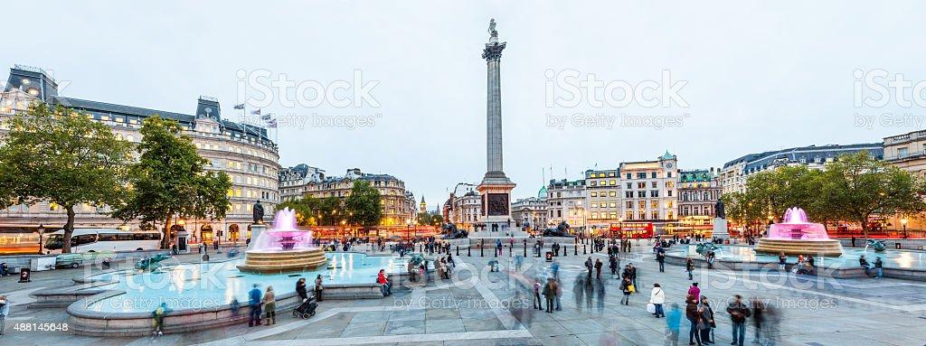 London England, Trafalgar Square at twilight panorama XXXL stock photo
