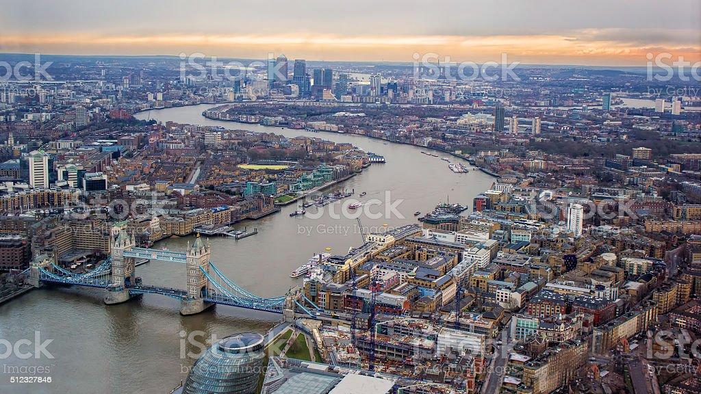 London Evening Sunset Sky. The Thames, Tower Bridge, Canary Wharf. stock photo