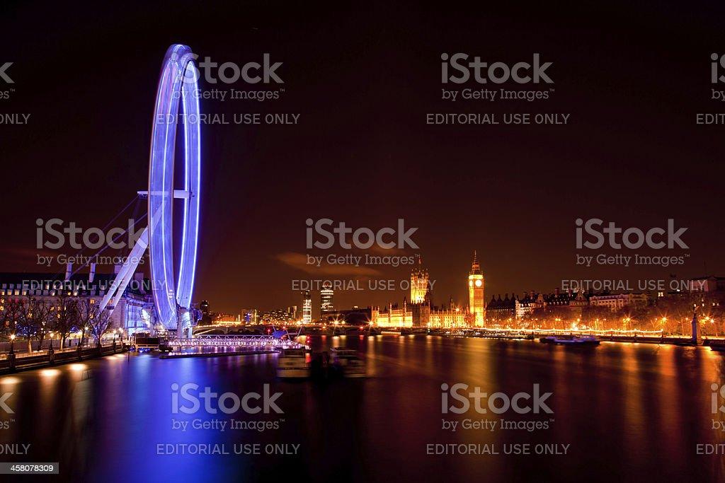 London Eye and Big ben at Night royalty-free stock photo