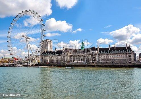 London Eye (Millenium Wheel) and County Hall building, London, UK