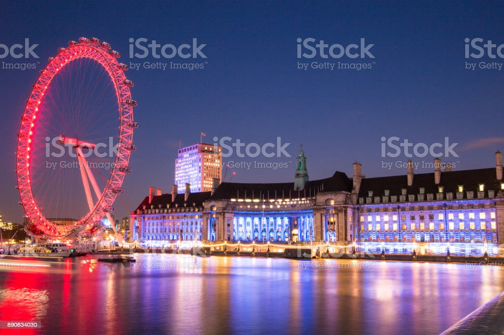 London Eye and London Aquarium stock photo