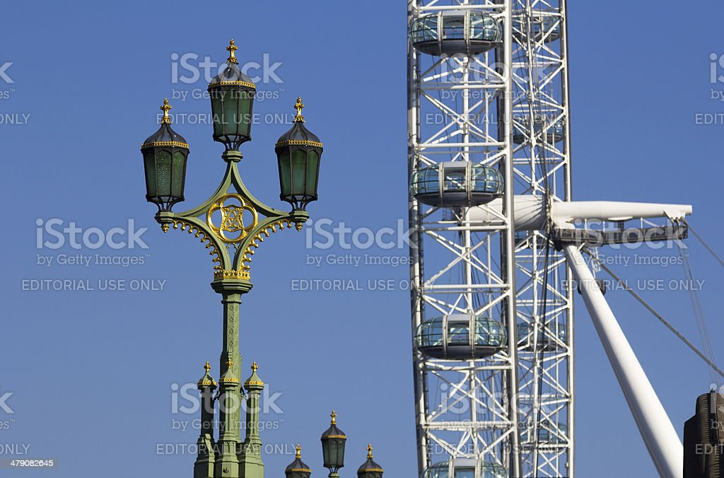 London Eye and Street Lamps royalty-free stock photo