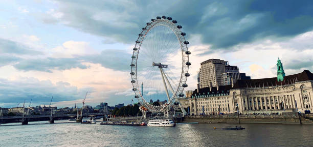 London Eye at sunset stock photo
