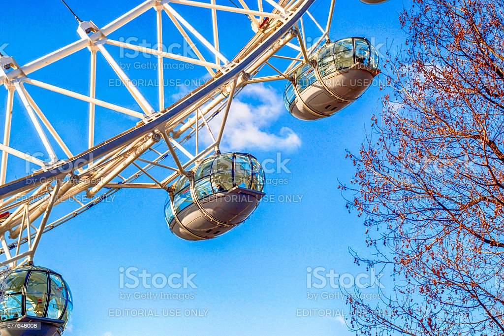 London Eye gondolas on the Thames embankment in London, UK royalty-free stock photo