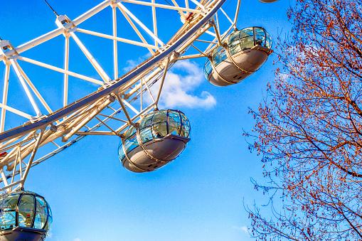 London Eye Gondolas On The Thames Embankment In London Uk Stock Photo - Download Image Now