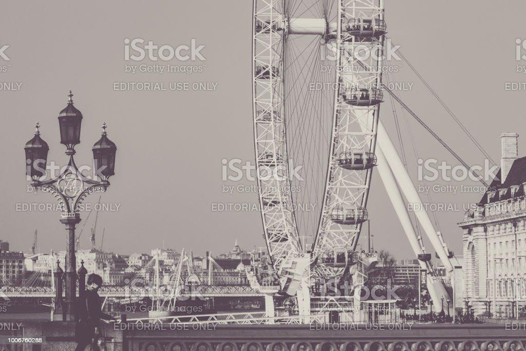London Eye landscape stock photo
