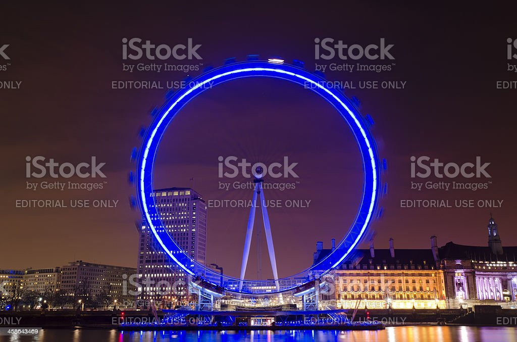 London Eye, night time, South Bank. royalty-free stock photo