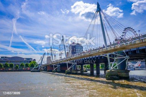 London/UK - June 3, 2017 - London Eye on Thames river, UK