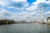 London, United Kingdom, May 5, 2006: View at the river Theems and the London Eye.