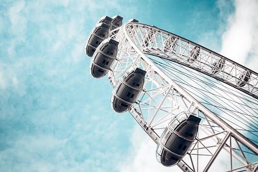 London, UK - October 26, 2013: Detail of London Eye (London, UK). Millenium Eye is the world's largest wheel, 135 meters high and 120 meters wide in diameter.