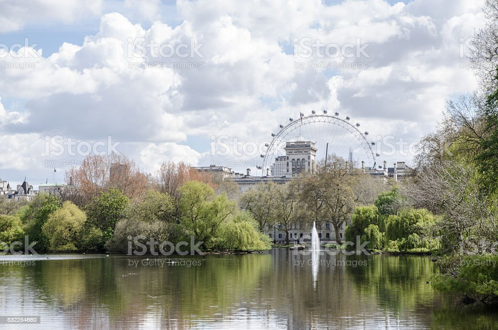 London Eye seen from St,James's Park stock photo