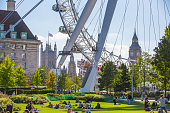 London, UK - September 10, 2015: London eye is a giant Ferris wheel opened on 31 December 1999, the most famous tourist attraction in the centre of London