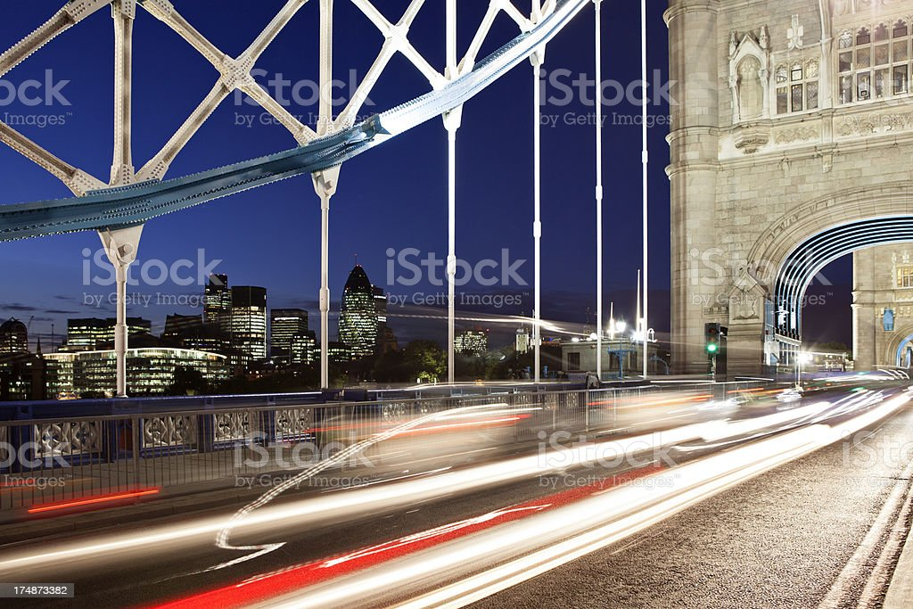 London Financial District and Traffic on Tower Bridge royalty-free stock photo