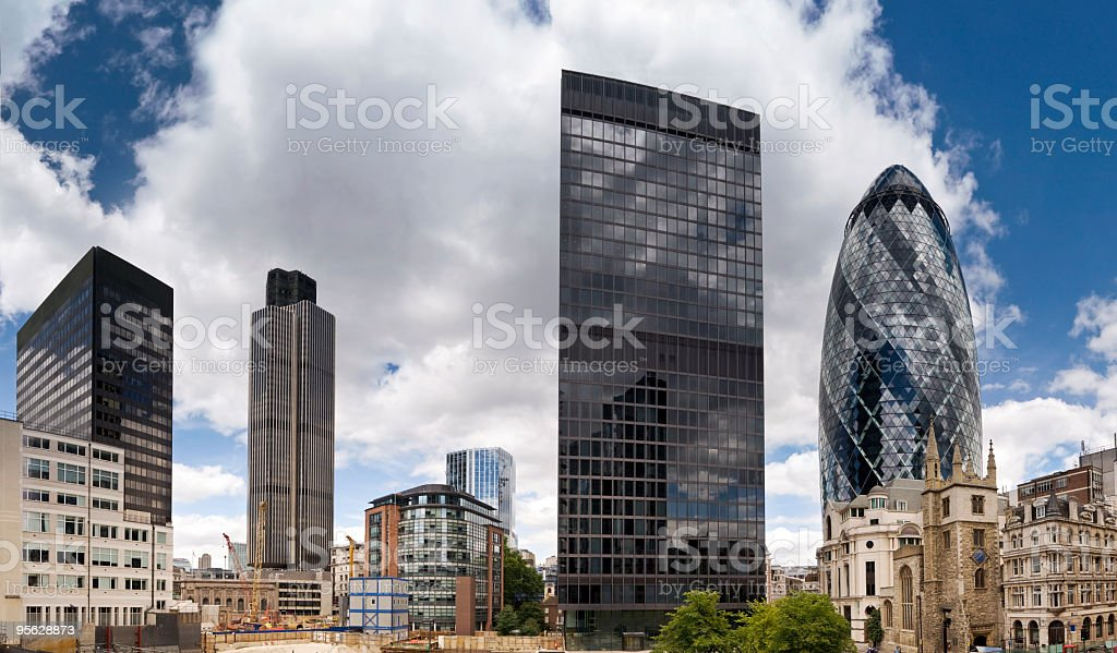 London financial district corporate skyscrapers stock photo