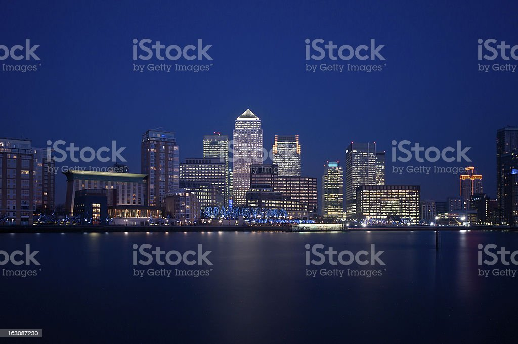 London financial district skyline 2013 at night stock photo