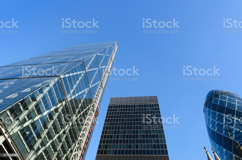 London financial district skyscrapers stock photo