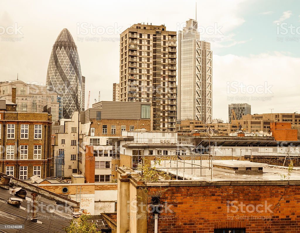 London financial skyline from residential district royalty-free stock photo