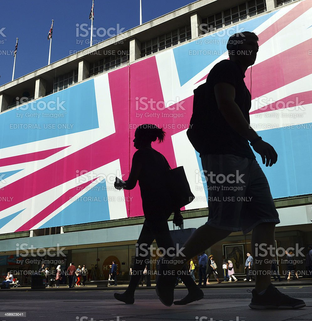 London flag and silhouette stock photo