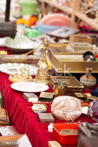 Antique objects in a flea market in London