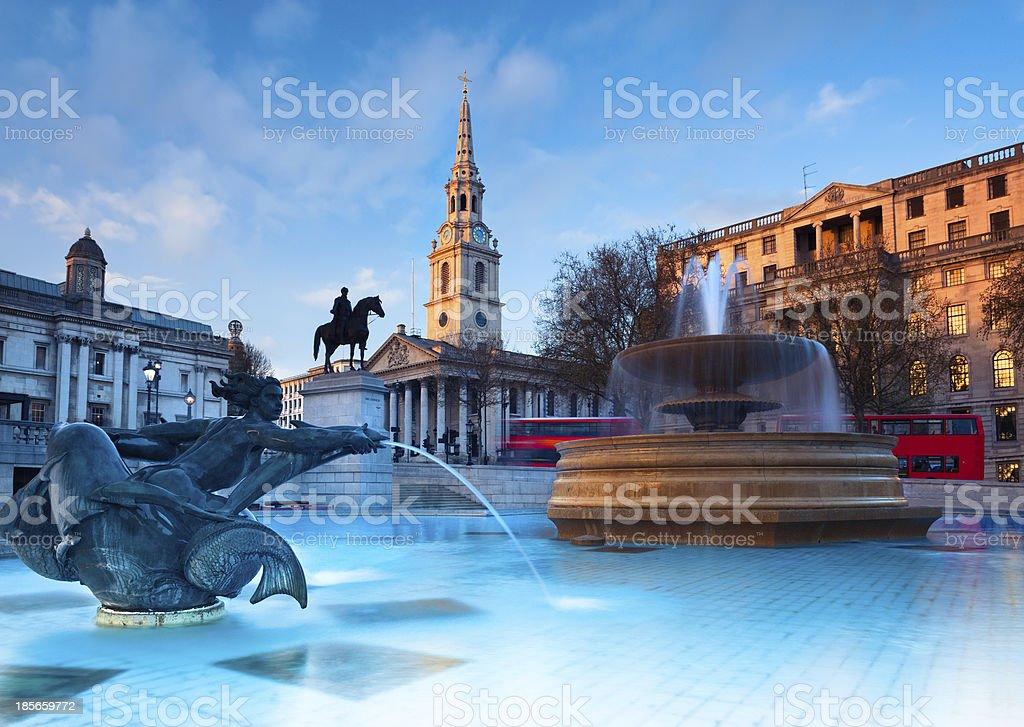 London, fountain on the Trafalgar Square stock photo